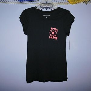 Tops - Black short sleeve shirt with pink cat